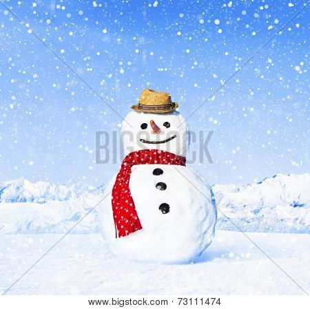 Real snowman outdoors in white scenery.