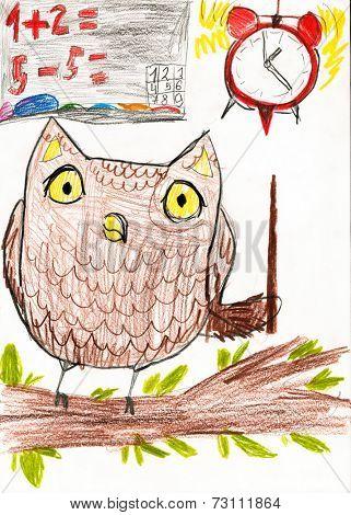 owl teaches math. children drawing