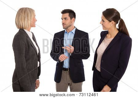 Isolated business team: man and woman talking together wearing suit and costume.