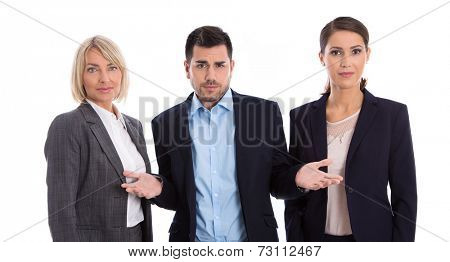 Gender equality concept: team of female and male business people isolated.