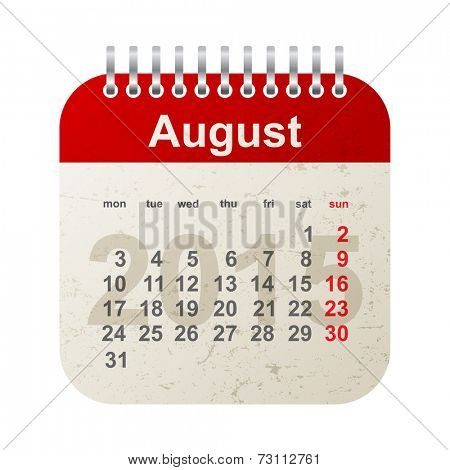 calendar 2015 in vintage style - august