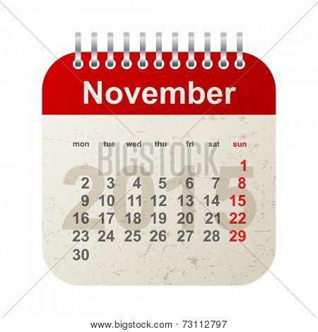 calendar 2015 in vintage style - november