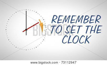 A clock at the wall with text remember to set the clock