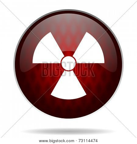 radiation red glossy web icon on white background