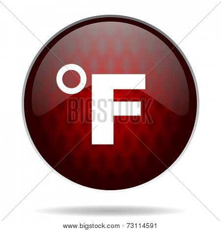 fahrenheit red glossy web icon on white background
