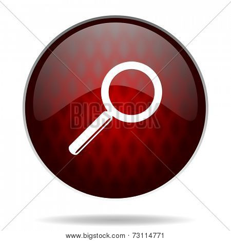 search red glossy web icon on white background