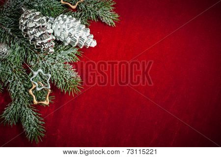 Christmas background with decorations and toys