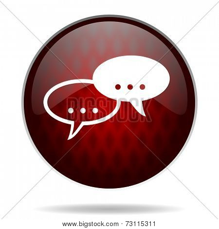 forum red glossy web icon on white background