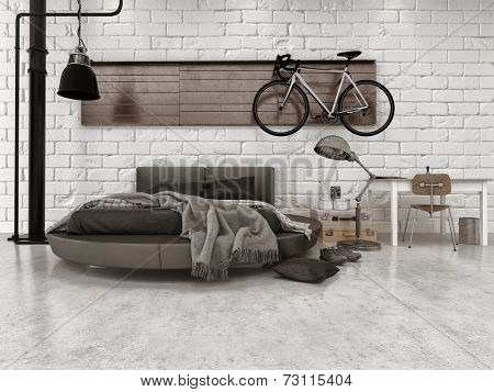 3D Rendering of Modern Loft Style Bedroom in Apartment with Furnishings, Round Bed, and Bicycle Hanging on Wall