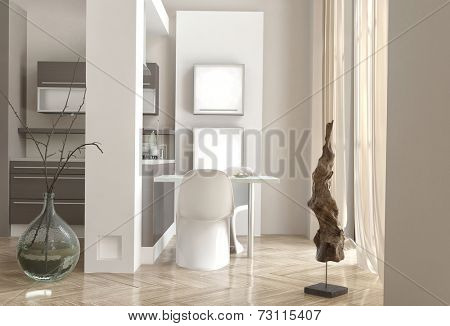 3D Rendering of Office area with a modern chair and desk alongside a kitchenette in a modern house interior with high volume and light bright airy windows with grey and white decor