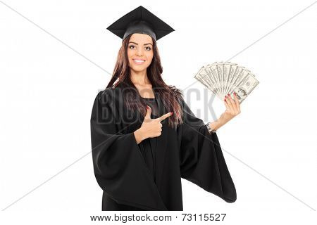 Female graduate student holding money isolated on white background