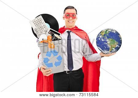 Superhero holding the world and a recycle bin full of old stuff isolated on white background, earth image in public Domain and furnished by NASA