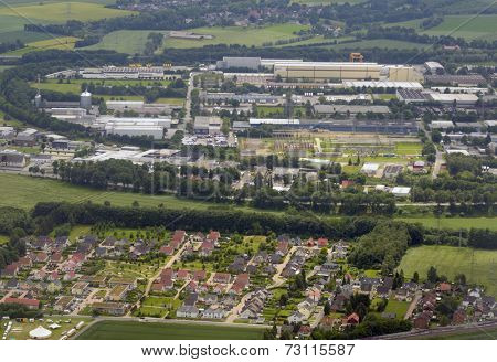 DORTMUND, GERMANY - JUNE 22, 2013: Aerial view to the plants of Brillux and other companies from  an airplane. North Rhine-Westphalia is the economically most important land in Germany