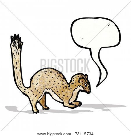 cartoon stoat with speech bubble