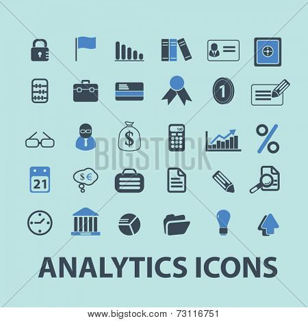 marketing, management, bank, analytics, investment icons, signs, illustrations, silhouettes set, vector on blue background
