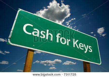 Caixa para chaves verde estrada assinar sobre nuvens