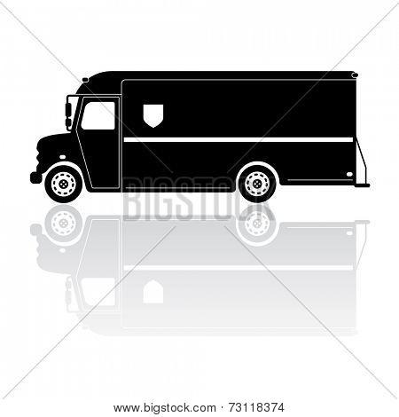 Parcel Delivery Van Silhouette Vector Icon