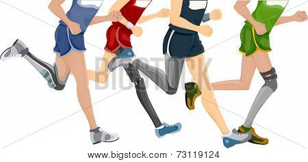 Cropped Illustration Featuring Runners Wearing Prosthetic Legs