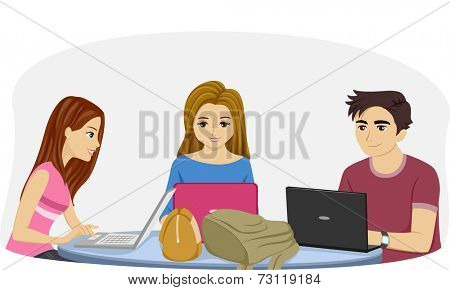 Illustration Featuring Teenage Students Using Their Laptops to Study