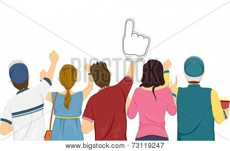 Illustration Featuring a Group of Sports Fans Cheering for Their Team