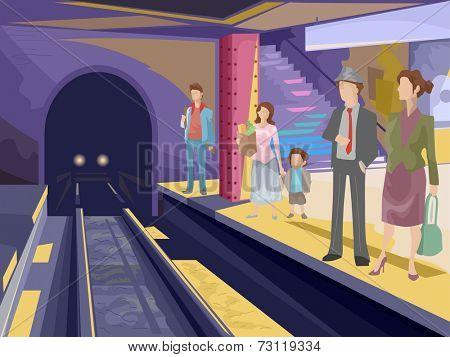 Illustration Featuring Passengers Waiting at a Subway Station
