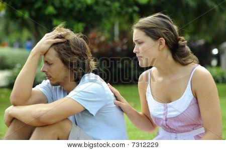 Girl Comforts Boy