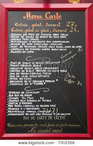 Restaurant Menu Board Written In French