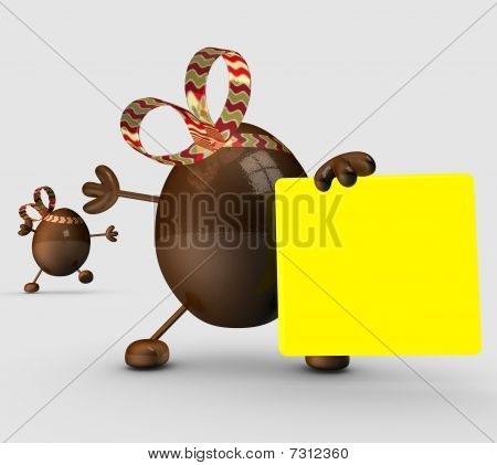 Cartoon easter egg characters holding a blank sign.
