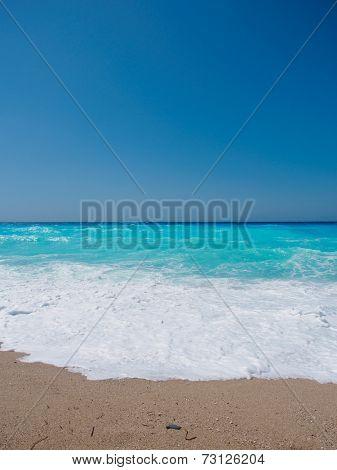wild beach with rocks in water. Island Lefkada, Leucas or Leucadia, Levkas, Lefkas, ionian sea, Greece