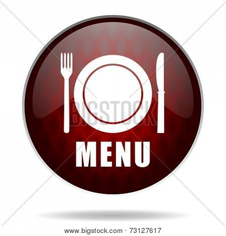 menu red glossy web icon on white background