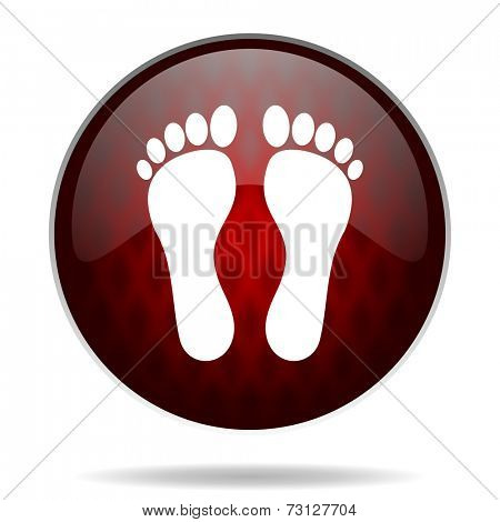 foot red glossy web icon on white background