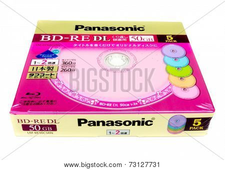 GOMEL, BELARUS - JUNE 30, 2014: PANASONIC BD- RE  DL 50GB, LM-BE50C5RN . Panasonic Corporation, is a Japanese multinational electronics corporation headquartered in Kadoma, Osaka, Japan.