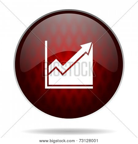 histogram red glossy web icon on white background