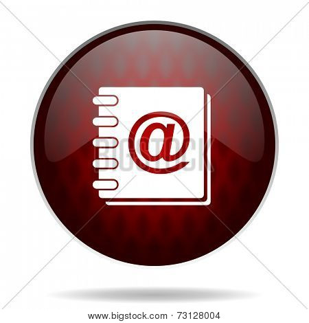 address book red glossy web icon on white background