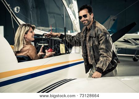 Female pilot with instructor
