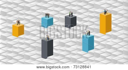 colorful template for advertising brochure with business people over blocks