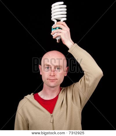 Male Holding A Light Bulb, Business Concept