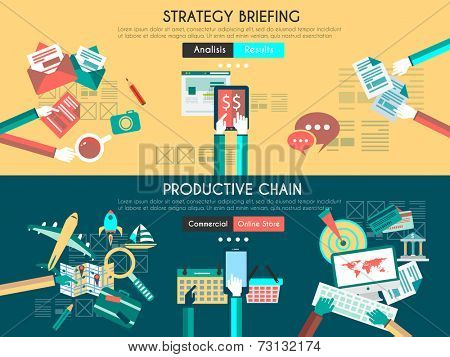 Icon Flat UI designs for business briefing, and developing process.  teamwork project planning, brainstorming , productive chain and marketing supply