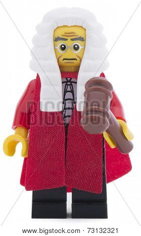 Ankara, Turkey - June 16, 2013 : A Lego minifigure of British judge with judge mullet and court dress  isolated on white background.