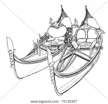 2 gondolas. Venice, Italy. Vector illustration