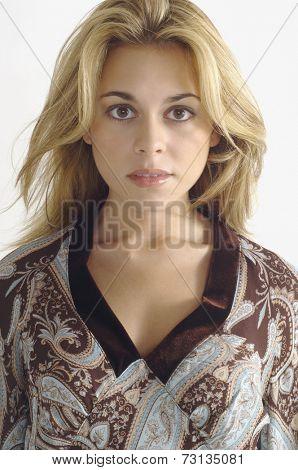 Studio shot of woman looking serious