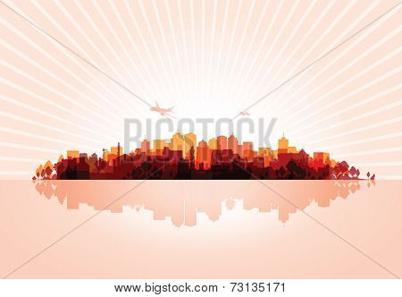 red cityscape overprint background