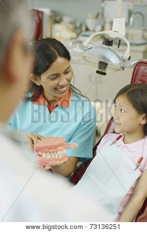 Indian female dental assistant showing model of teeth to young female patient