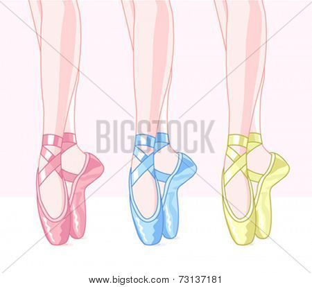 Illustration of set ballet shoes