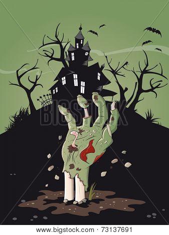 zombie hand halloween background