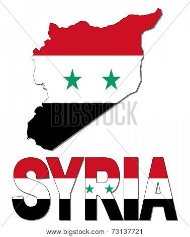 Syria map flag and text vector illustration