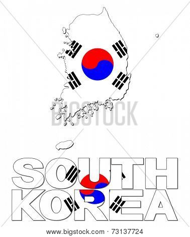 South Korea map flag and text vector illustration