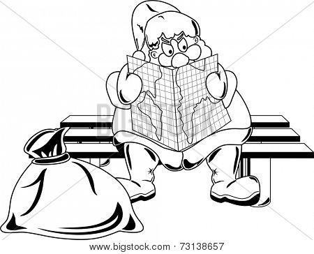 Santa Claus selecting a route for the Christmas travel sitting on the bench