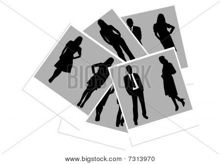 Illustration of photos with business people
