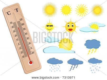 a thermometer and some weather elements